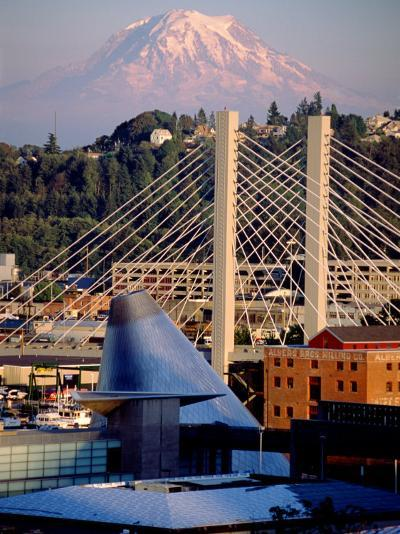 Downtown and Mt. Rainier, Tacoma, Washington-Charles Crust-Photographic Print