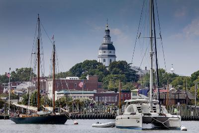 Downtown Annapolis and the State Capitol Dome Seen from the Waterfront-Kent Kobersteen-Photographic Print
