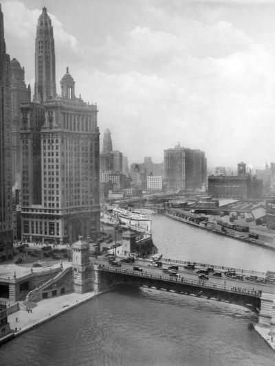 Downtown Chicago View Looking West, Ca. 1928--Photographic Print