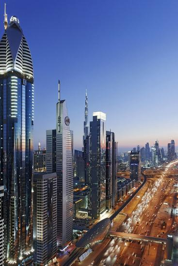 Downtown Dubai, Panorama, Skyline, Evening Mood at the Persian Gulf, Traffic-Axel Schmies-Photographic Print