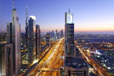 Downtown Dubai, Panorama, Skyline, Evening Mood at the Persian Gulf, Traffic-Axel Schmies-Photographic Print