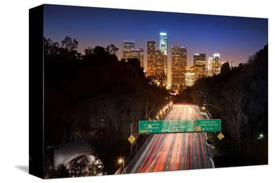 Downtown Los Angeles At Night--Stretched Canvas Print