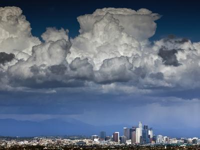 Downtown Los Angeles, California with Cumulonimbus Clouds Forming Overhead.-Ian Shive-Photographic Print