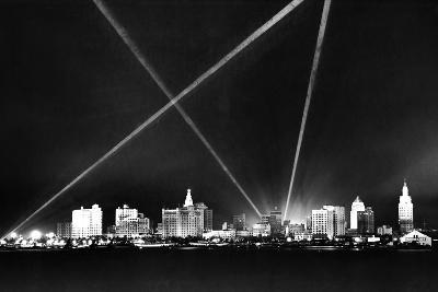 Downtown Miami Skyline at Night, 1926--Photographic Print
