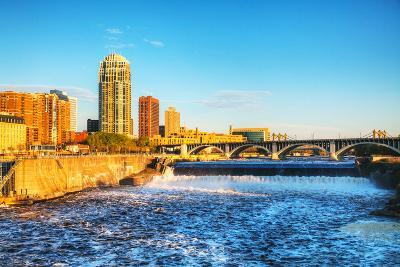 Downtown Minneapolis, Minnesota at Night Time and Saint Anthony Falls-photo.ua-Photographic Print