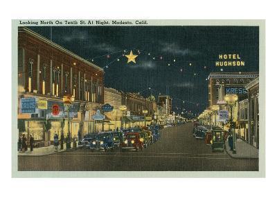 Downtown Modesto at Night--Art Print