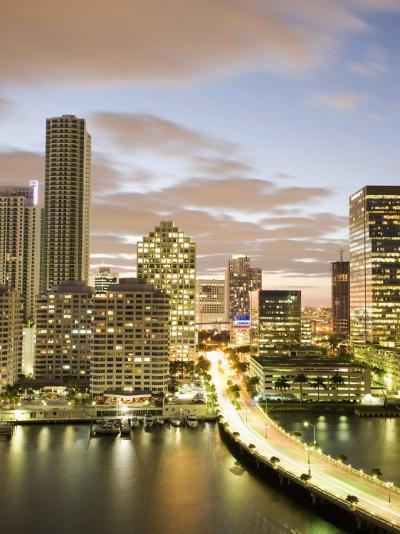 Downtown Skyline at Dusk, Miami, Florida, United States of America, North America-Angelo Cavalli-Photographic Print