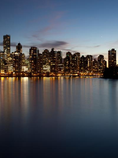 Downtown Skylines Lit Up at the Waterfront, Coal Harbor, Lost Lagoon, Vancouver, British Columbi...--Photographic Print