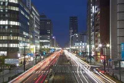 Downtown Street at Dusk, Hiroshima, Hiroshima Prefecture, Japan-Ian Trower-Photographic Print