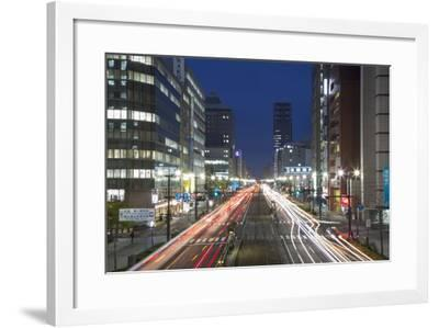 Downtown Street at Dusk, Hiroshima, Hiroshima Prefecture, Japan-Ian Trower-Framed Photographic Print