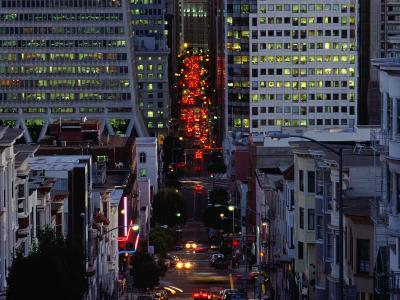 Downtown Traffic and Base of Transamerica Pyramid at Left, San Francisco, California, USA-Roberto Gerometta-Photographic Print