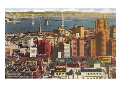 Downtown with Oakland Bay Bridge, San Francisco, California--Art Print