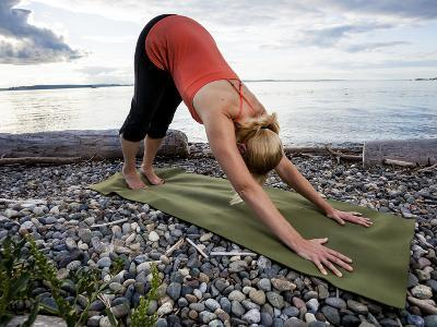 Downward Dog Yoga Pose on the Beach of Lincoln Park - West Seattle, Washington-Dan Holz-Photographic Print