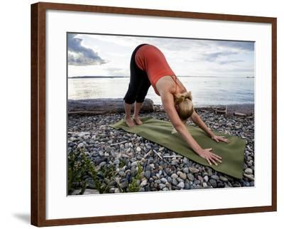 Downward Dog Yoga Pose On The Beach Of Lincoln Park West Seattle Washington Photographic Print By Dan Holz Art Com