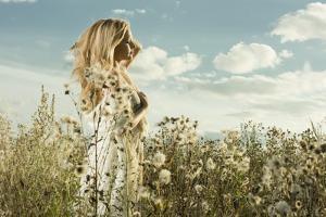 Portrait of Beautiful Girl in Field by dpaint