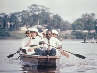 Dr. Albert Schweitzer Going Down the Ogowe River to Lambarene for His Birthday Celebration-George Silk-Premium Photographic Print