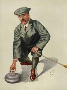 Dr H. S. Lunn a Noted Curling Player Crouches Down to Take His Shot