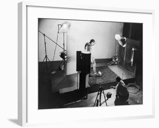 Dr. Harold E. Edgerton Taking Stroboscopic Picture of Joe Maniaci, Running Back of Chicago Bears-Gjon Mili-Framed Premium Photographic Print