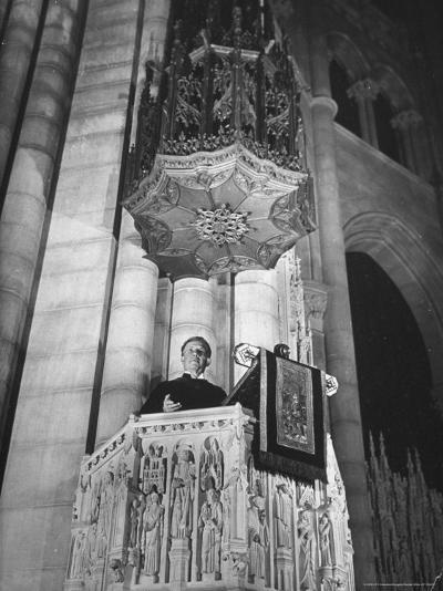 Dr. Harry Emerson Fosdick Delivering Sermon From the Pulpit of Riverside Church-Margaret Bourke-White-Photographic Print