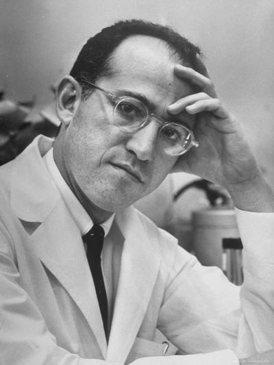 Dr. Jonas Salk, Inventor of the New Polio Vaccine, in Serious Portrait-Alfred Eisenstaedt-Premium Photographic Print