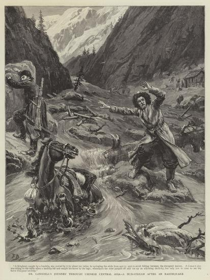 Dr Lansdell's Journey Through Chinese Central Asia, a Mud-Stream an Earthquake-Frank Dadd-Giclee Print