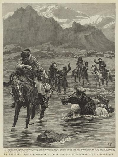 Dr Lansdell's Journey Through Chinese Central Asia, Fording the Muzart-Nin-Su-Frank Dadd-Giclee Print