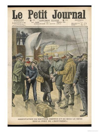 Dr. Peter Hawley Harvey Crippen and His Accomplice Miss le Neve are Arrested on Board the Montrose--Giclee Print