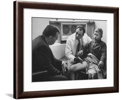 Dr. Richard Varco Talking with Dr. Robert A. Good About Successful Skin Graft on Boy--Framed Photographic Print