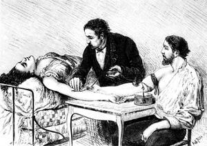 Dr Roussell of Geneva Giving a Woman a Direct Blood Transfusion from a Volunteer, 1882
