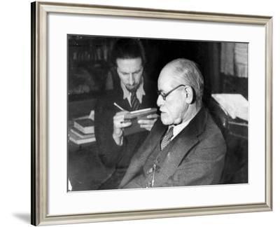 Dr. Sigmund Freud, Father of Psychoanalysis, Sitting with Man Who Is Taking Notes