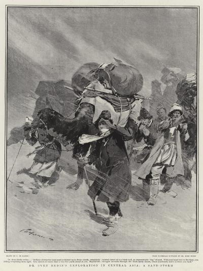 Dr Sven Hedin's Exploration in Central Asia, a Sand-Storm-Frederic De Haenen-Giclee Print