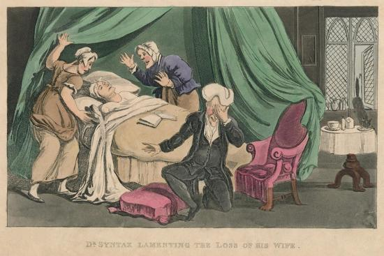 'Dr Syntax Lamenting the Loss of His Wife', 1820-Thomas Rowlandson-Giclee Print