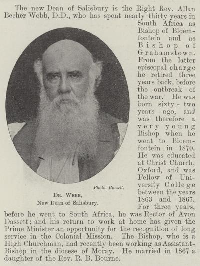 Dr Webb, New Dean of Salisbury--Giclee Print