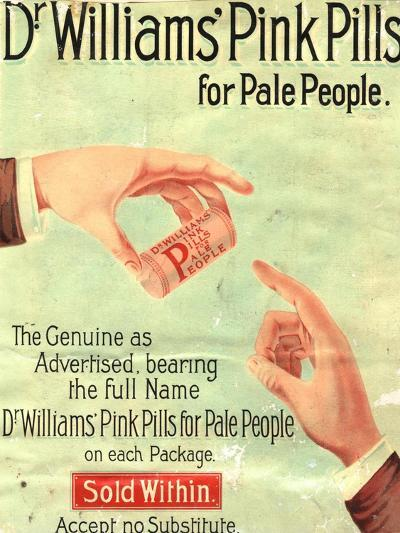 Dr Williams Pin Pills Medical Medicine, UK, 1890--Giclee Print