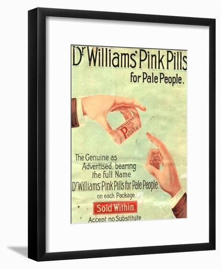Dr Williams Pin Pills Medical Medicine, UK, 1890--Framed Giclee Print