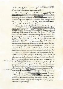Draft of the Declaration of Independence in Jefferson's Handwriting, Page 1