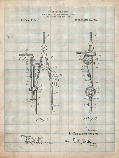 Drafting Compass 1912 Patent-Cole Borders-Art Print