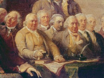 Drafting the Declaration of Independence, 28th June 1776, c.1817 (Detail)-John Trumbull-Giclee Print