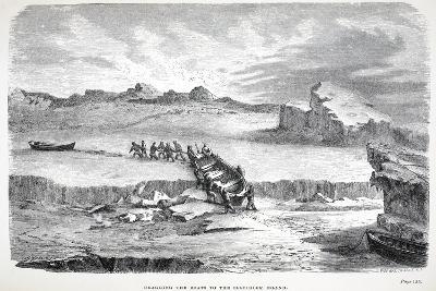 Dragging the Boats to the Illuidlek Island, Pub. London 1886--Giclee Print