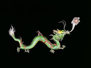 Dragon Chasing Flaming Pearl, Decorative Detail from the Base of a Chinese Export Silver Jardinier