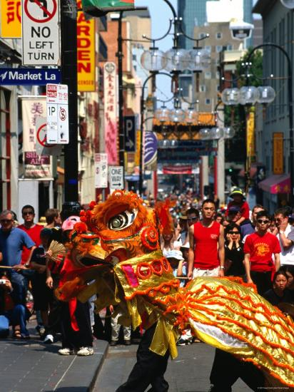 Dragon Dance During Chinese New Year, Chinatown, Melbourne, Victoria, Australia-Greg Elms-Photographic Print
