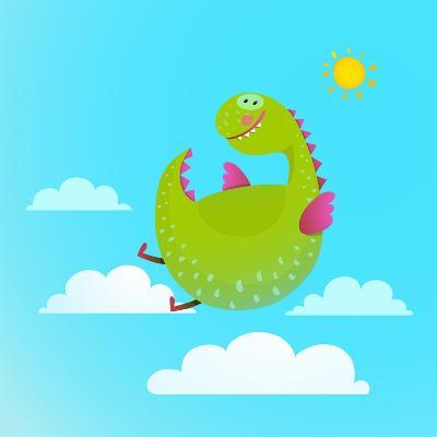 Dragon Flying in Sky Colorful Cartoon for Kids. Dragon Flying Fun Cute Cartoon with Clouds and Sun-Popmarleo-Art Print
