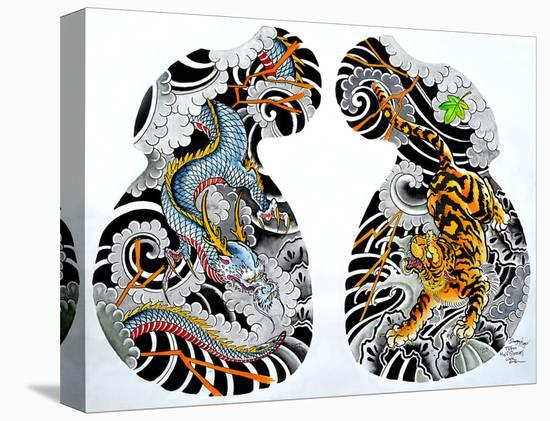 Dragon Tiger Tattoo Half Sleeve Stretched Canvas Print By Clark North
