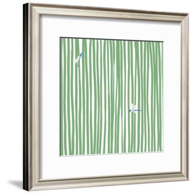 Dragonflies in Stripes-Jorey Hurley-Framed Premium Giclee Print