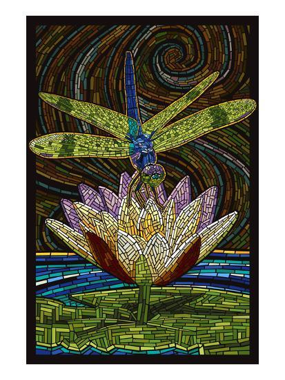 Dragonfly - Paper Mosaic-Lantern Press-Art Print