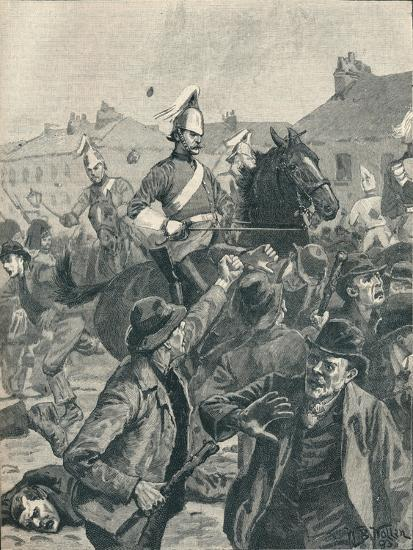 Dragoons and Highlanders scattering  rioters in Belfast, 1872 (1906)-Unknown-Giclee Print
