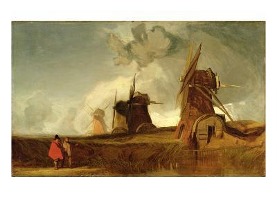 Drainage Mills in the Fens, Croyland, Lincolnshire, c.1830-40-John Sell Cotman-Giclee Print