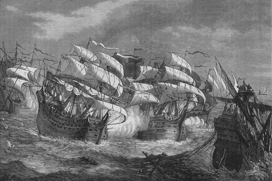 'Drake Attacking the Spanish Treasure Ship', c1578, (c1880)-Unknown-Giclee Print