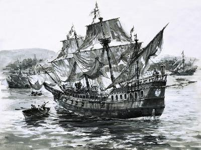 Drake's Ship, the Golden Hind, Limps Back to Portsmouth Carrying Immense Riches-Graham Coton-Giclee Print