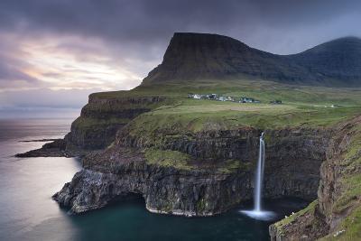 Dramatic Coastal Scenery at Gasadalur on the Island of Vagar, Faroe Islands. Spring-Adam Burton-Photographic Print